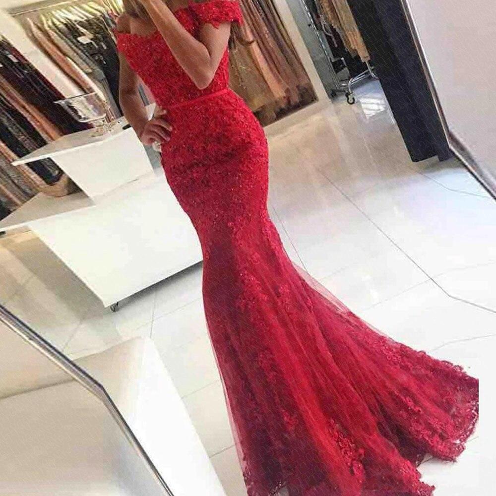 2019 Elástico Vermelho Sereia Vestidos de Baile Longo Barato Fora Do Ombro Lace Manga Cap Applique Vestido De Noite Vestido de Festa Para As Mulheres