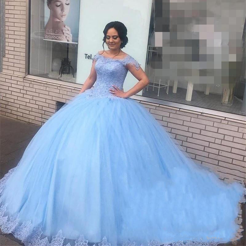 Light Blue Lace Sweet 16 Quinceanera Dresses Ball Gown Off Shoulder Beaded Puffy Tulle Masquerade Vestidos 15 Anos Party Dress
