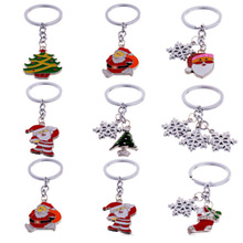 New Fashion Rhinestone Santa Key Chain Charms Keyring Keychain Christmas Tree Snowman Snowflake Accessories