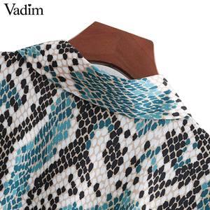 Image 3 - Vadim elegante vestido estampado de serpiente camisa patrón animal pajarita fajas cintura elástica plisada manga larga vestidos midi vestidos QB240