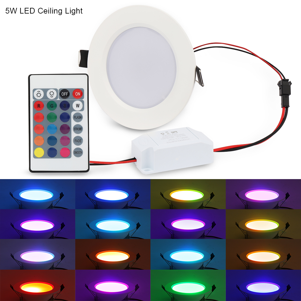 5st / lot 10W 5W RGB LED-panel lampa Rund taklampor med - LED-belysning - Foto 6