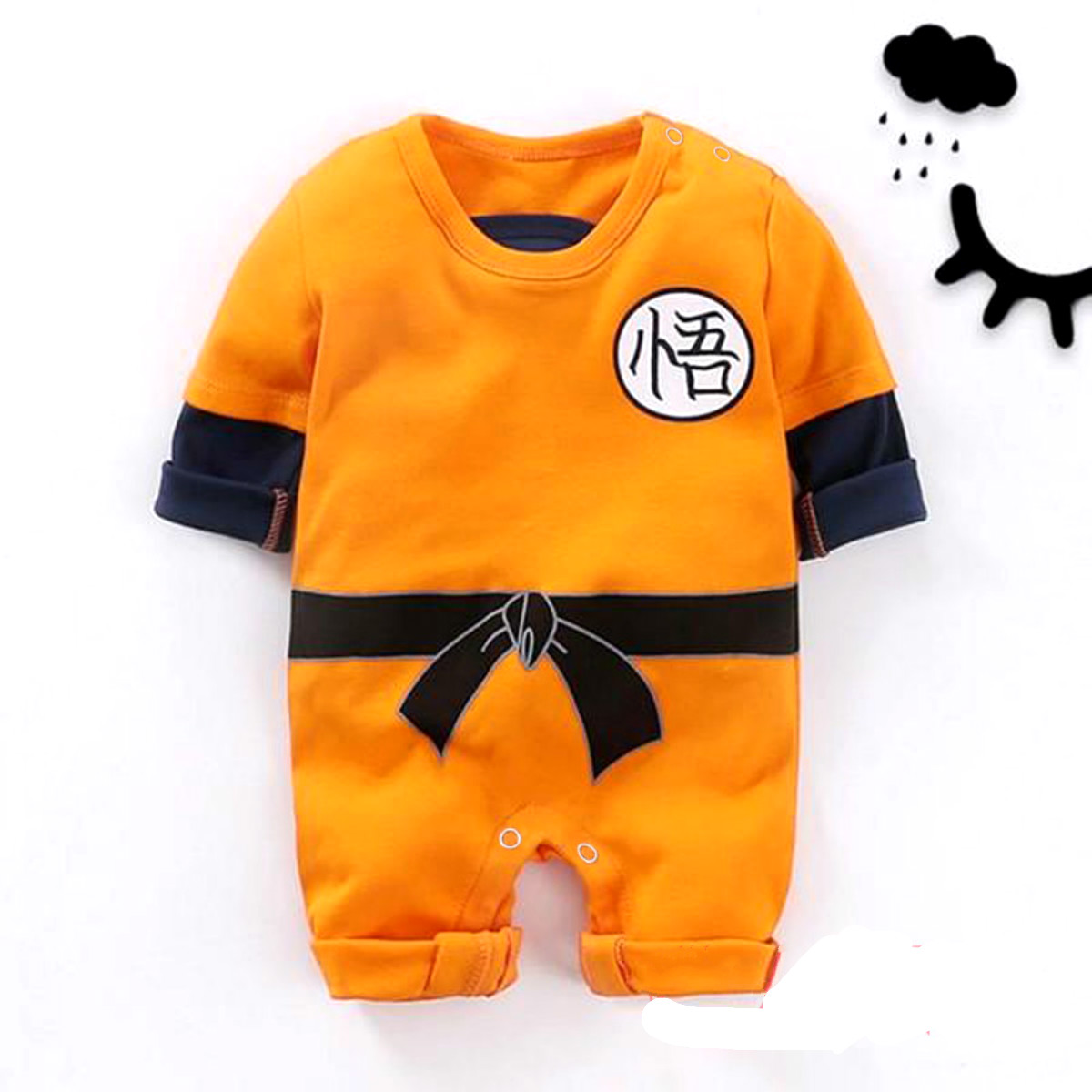 Kung Fu Infant Baby Boys Long Sleeve Goku   Romper   Jumpsuit Baby Boy Girl Clothes Autumn Winter Outfit
