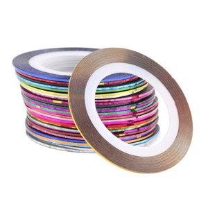 Image 4 - 30Pcs rotoli di bellezza colorati misti strisce decalcomanie punte di lamina linea di nastro adesivi per Nail Art Design fai da te per decorazioni di strumenti per unghie