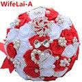 Te Encargo Rojo Blanco Arco de Cristal Broche Ramo de La Boda de Satén Flores Artificiales Novia Dama de Honor Ramo ramos de novia W112