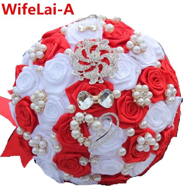 You Custom Red White Bow Crystal Brooch Wedding Bouquet Satin Artificial Flowers Bridal Bridesmaid Bouquet ramos de novia W112