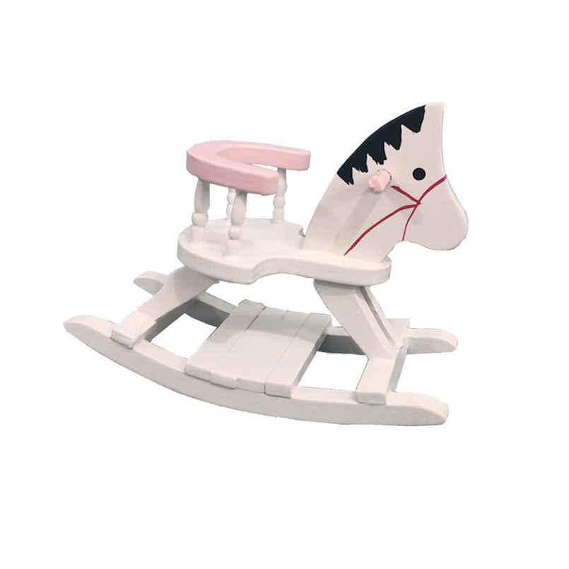 Casa de muñecas miniatura de madera blanca mecedora silla con forma de Caballo Cuarto de niños muebles 1:12 casa de muñecas accesorios juguetes para niños 15
