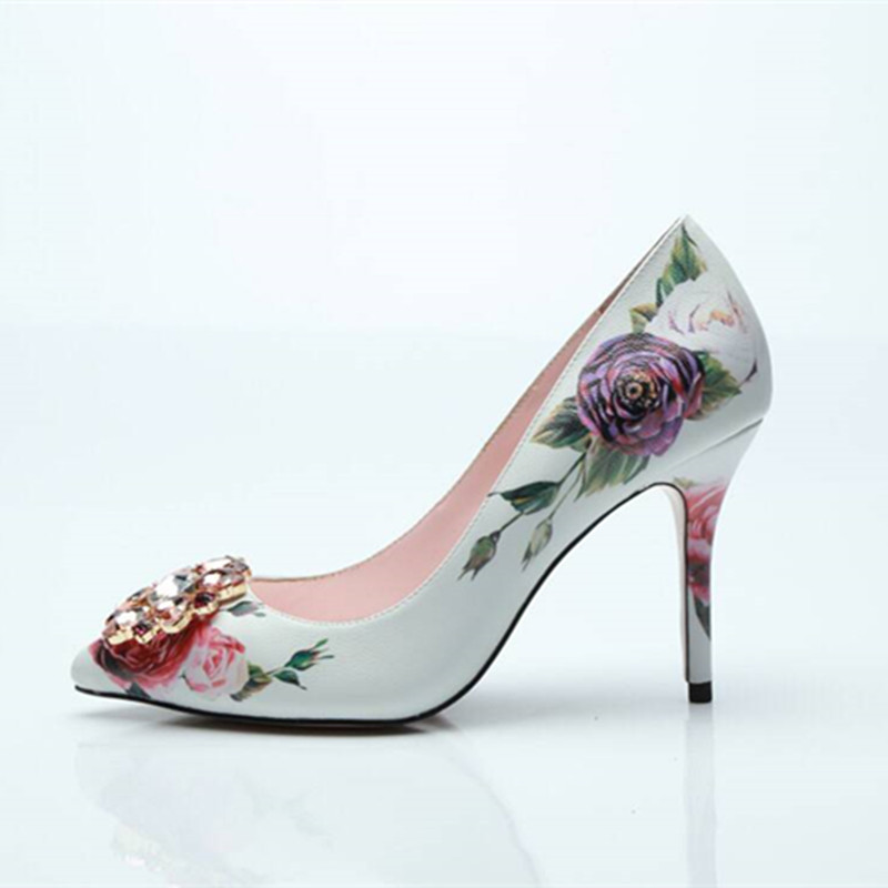 2018 New fashion bridal wedding shoes flower print slip on pumps diamond embellished toe thin high