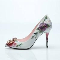 2018 New fashion bridal wedding shoes flower print slip on pumps diamond embellished toe thin high heels party dress shoes woman