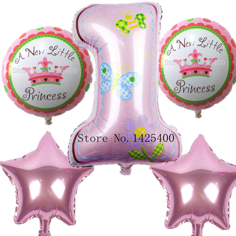 XXPWJ NEW decoration Number balloon pink Blue baloon Helium Foil Balloons Baby 1