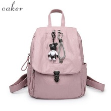Caker 2017 Women Fashion New Arrival School Style Backpack Lady Real Genuine Leather Shoulder Bags Female Pink Grey Zipper Bag