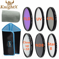 KnightX 52mm 58mm 67mm UV CPL FLD Graduated ND Color Lens Filter set for Canon Nikon Sony d3200 d5200 d3300 d5100 DSLR Camera