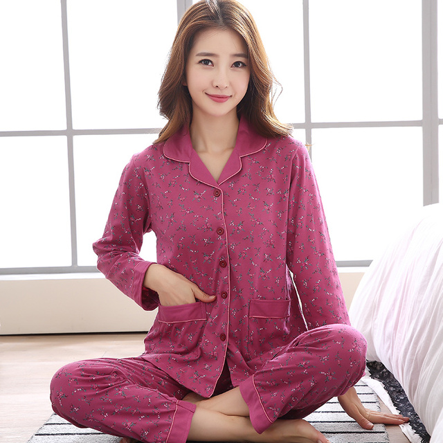 New Winter Pijamas Mujer Cotton Lady Women Pajamas Sets Floral Pyjamas  Pocket Femme Long Sleeve Sleepwear Turn-down collar XXXL 5fee9149b