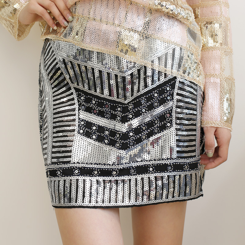 Fashionable Mini Sequin Women Summer Skirt Shiny Gold/Silver Bottoms, Hot Sale Girl's Party Night Club Sexy Skirt