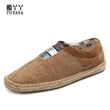 Shoes Men 2019 New Soft Hemp Shoes Men Casual Lace-Up Breathable Loafers Men Espadrilles Flats  Anti-Slip Fisherman Shoes цена 2017