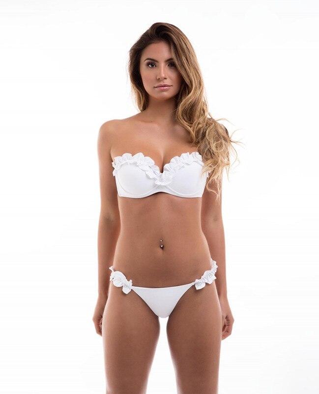 HTB1wKJOnIyYBuNkSnfoq6AWgVXaY Padded Push Up Bikini Set Underwire Flower Ruffles Swimsuit For Women Sexy Solid Bandeau Female Bathing Suit 2018 Summer Biquini