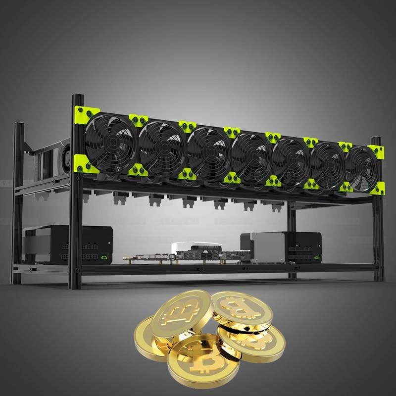 Btc mineiro caso servidor rack 8 gpu empilhável alumínio equipamento de mineração ao ar livre quadro para ethereum mineração eth etc bitcon xmr zcash