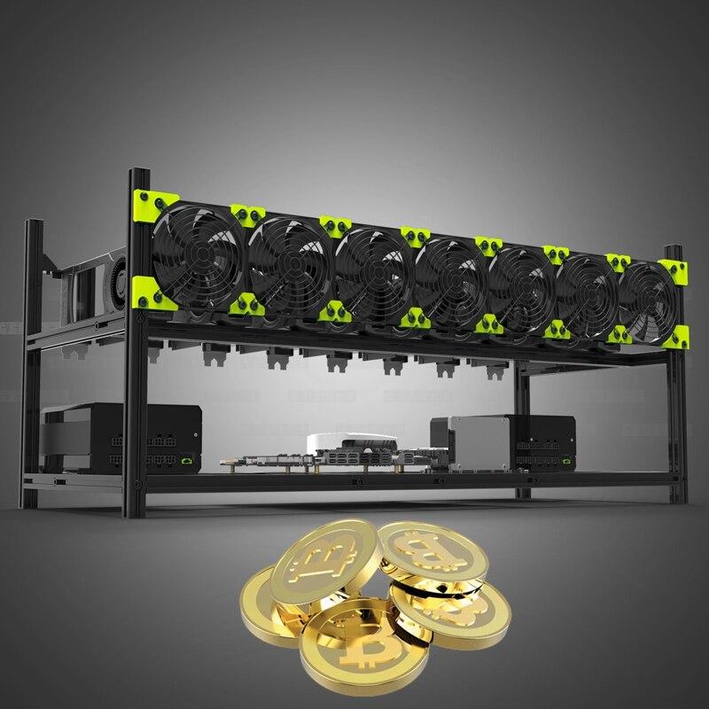 BTC Miner Case Server Rack 8 GPU Aluminum Stackable Mining Rig Open Air Frame For Ethereum Mining ETH ETC Bitcon XMR ZCash