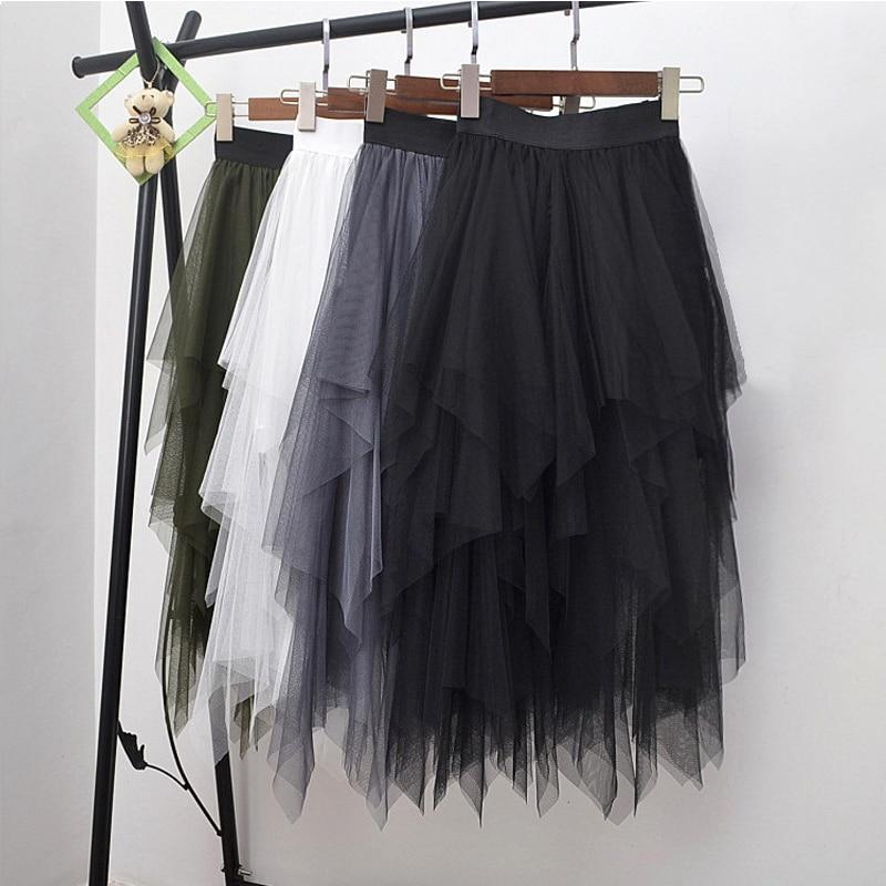 Hosszú tüll szoknya női divat magas derék szabálytalan hem - Női ruházat
