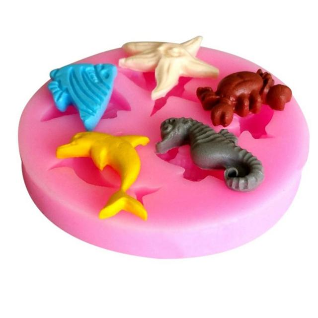 Seahorse Starfish Dolphin Fish Shapes Silicone Cake Baking Molds Pink Reusable Mould Not Sticky Easy To