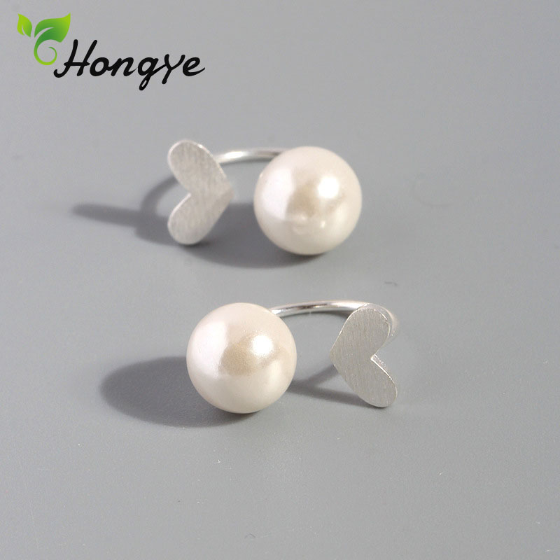 Hongye Female Real Silver Studs Earrings Sweet Heart Womens Natural Pearl Ear Jewelry for Wedding/Party/Anniversary BrincosHongye Female Real Silver Studs Earrings Sweet Heart Womens Natural Pearl Ear Jewelry for Wedding/Party/Anniversary Brincos