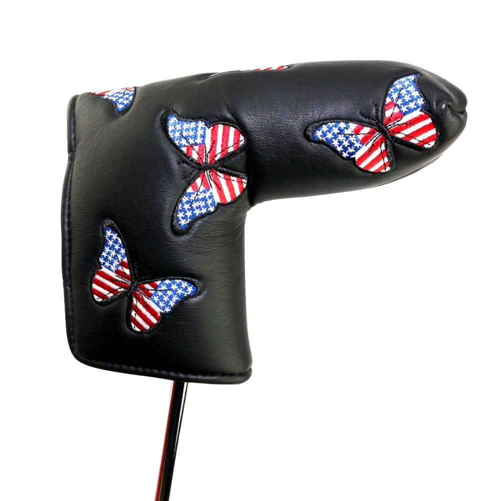 PINMEI Golf Putter Cover Bladed Putter Headcover Soft PU Leather Embroidered Patterned Golf Club Head Covers