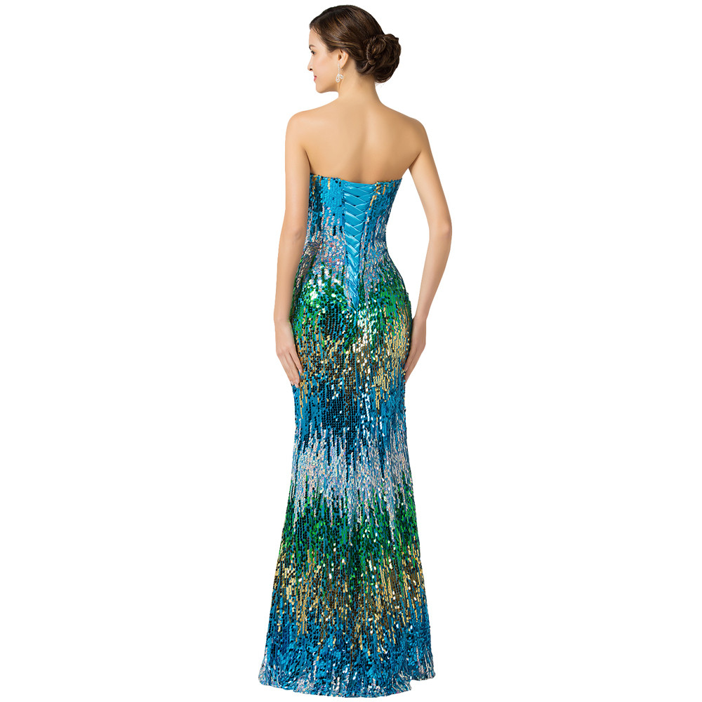 Sweetheart Colorful Sequins Lace Evening Dress 6