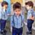 2015 Meninos Roupas Terno Cavalheiro Outono longo-sleeved camisa listrada + calça jeans Correia 2 pçs/set infantis do bebê das crianças terno calça jeans