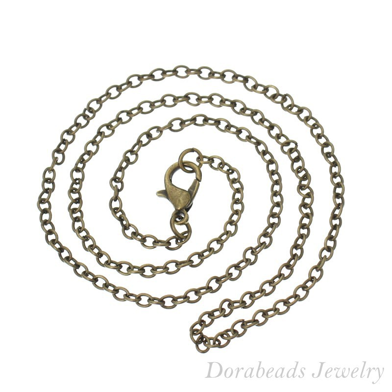 DoreenBeads 12 Bronze Tone Lobster Clasp Link Chain Necklaces 2x3mm 16