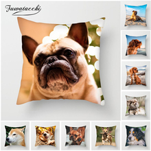 Fuwatacchi Cute Bulldog Cushion Cover For Sofa Bed Decor French Throw Pillow Animal Decorative Pillowcases