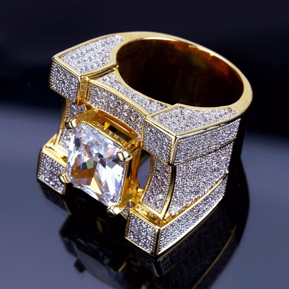 Aaa Cubic Zirconia Ice Out Bling Big Wide Hip Hop Rings Gold Color Geometric Men Hiphop Rapper Cz Ring Jewelry Drop Shipping