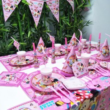 Minnie Mouse Happy Birthday Party Decorations Supplies Cups Plates Banners Tablecloth Disposable Tableware Anniversaire Favors