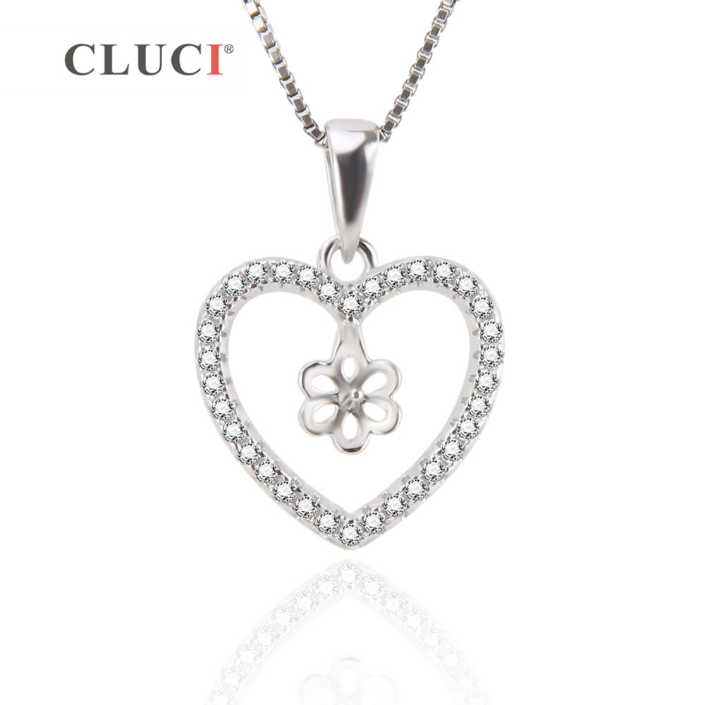 CLUCI 925 Sterling Silver Heart Pendant Setting to Stick Pearl Charm Pendant for Women Girls DIY Jewelry Findings fit 7mm pearl