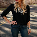 Black Red Blue Women Cozy Sexy Fashion Loose Chiffon V-Neck Tops Long Sleeve Shirt Casual Blouse