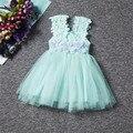 Flower Girl New Festa de Aniversário Da Princesa Vestido Da Menina de Vestido de Verão 2017 vestido de Noiva de Tule Vestidos Roupa Das Crianças Roupa Dos Miúdos vestido