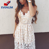 EVENLIM Women Sexy Padded Hollow Out Lace Dress Lined Summer Lady Dress With Shirt Zipper Party