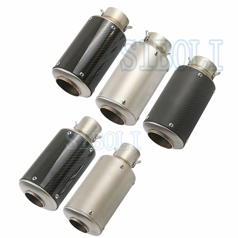Motorcycle Exhaust Inlet 51mm 60mm Universal Carbon Fiber Exhaust GP Escape Moto Motocross KTM EXC CB500X TMAX 530 SC034