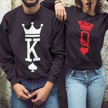 b18b2f2584 New Couple Lovers Autumn Hoodies 2018 Fashion King Queen Poker Print Women  Men Sweatshirt Casual Long · 4 Colors Available