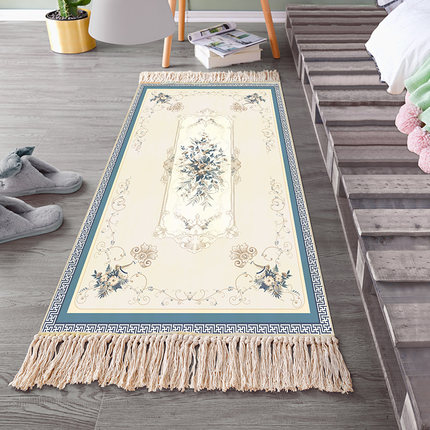 European Classical Chinese Cotton And Linen Woven Carpet Long Bedroom Bedside Blanket Rectangular Floor Coffee Table Home Mat