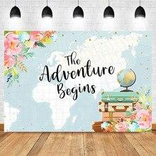 NeoBack Abenteuer Hintergrund Welt Mapfor Baby Dusche Fotografie Hintergrund Kinder Kinder Geburtstag Blumen Foto Kulissen