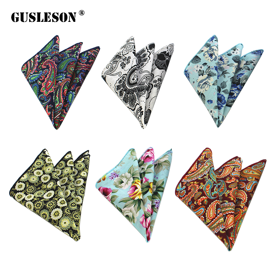 GUSLESON Floral Cotton Handkerchiefs Paisley Pattern Hanky Men's Business Casual Pockets Square Handkerchief Wedding Hankies