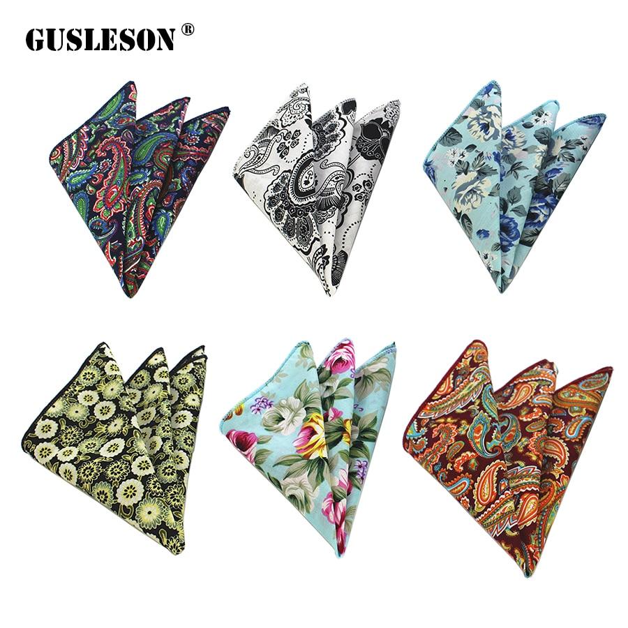 GUSLESON Floral Cotton Handkerchiefs Paisley Pattern Hanky Men's Business Casual Pockets Square Handkerchief Wedding Hankies