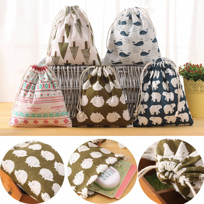 WCIC 5 Pattern Baby Toys Storage Bags Drawstring Bag Canvas Bear Laundry Hanging Household Pouch Bag Home Storage Organization