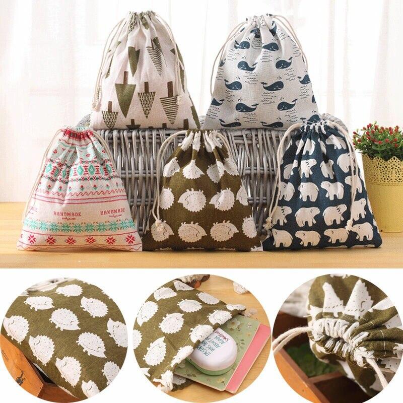 WCIC Bolsa de almacenamiento plegable de lino y algodón Portátil - Organización y almacenamiento en la casa
