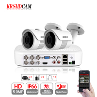 5MP CCTV camera System 5.0MP AHD DVR 2pcs 2592*1944 AHD Cameras waterproof ip66 outdoor Bullet security video surveillance