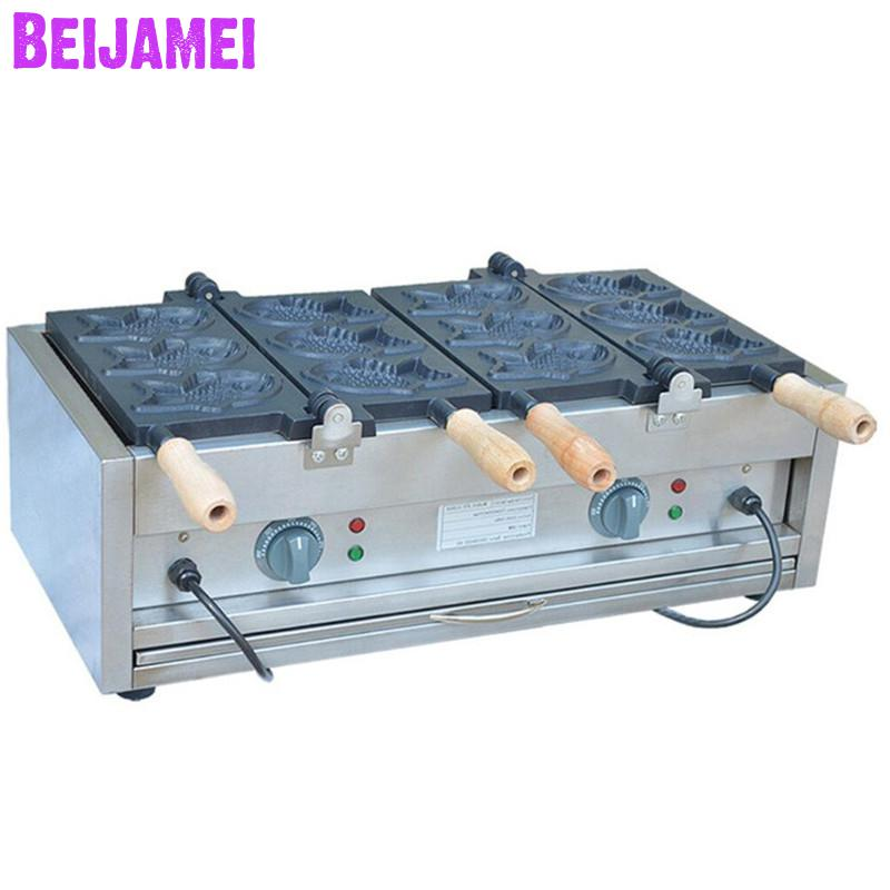 Beijamei Commercial Non-sticky Electric Taiyaki Japanese Waffle Maker 110v 220v 6 Fishes Taiyaki Waffle Making Machine Cooking Appliances