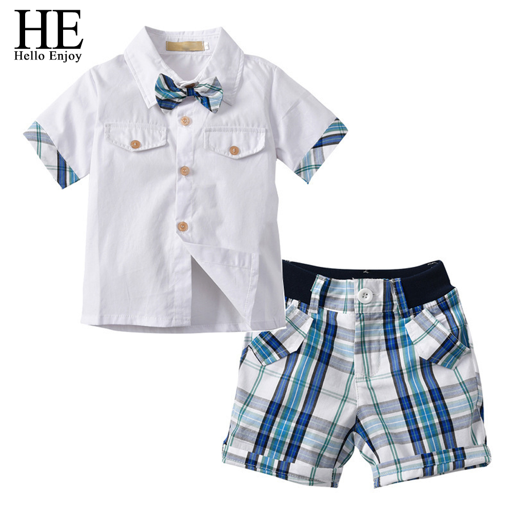 HE Hello Enjoy 2018 Kids Boys Clothes Set Summer Children Clothing Short Sleeves Gentleman Bow Tie Shirts+Plaid Shorts Suits