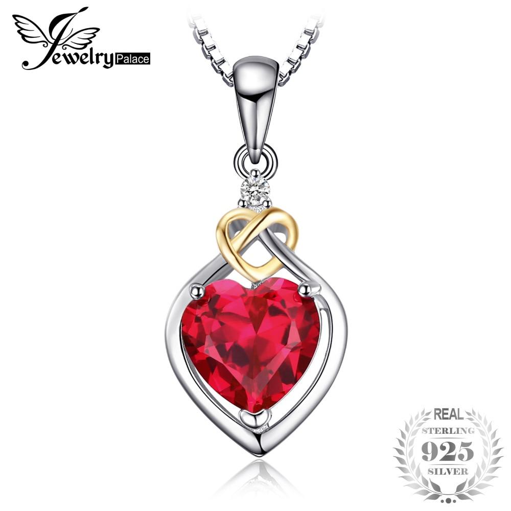 Jewelrypalace cinta simpul hati 2.5ct dibuat red ruby 925 - Perhiasan bagus - Foto 1