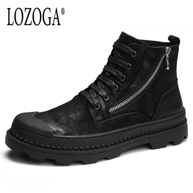 Lozoga Men's Shoes Motorcycle Boots Genuine Leather Military Black Boots Lace-Up Round Toe Handmade Men Boots Retro Casual Shoes