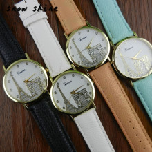 snowshine #3001   Women Eiffel Tower Printing Pattern Weaved Leather Quartz Dial Watch  free shipping