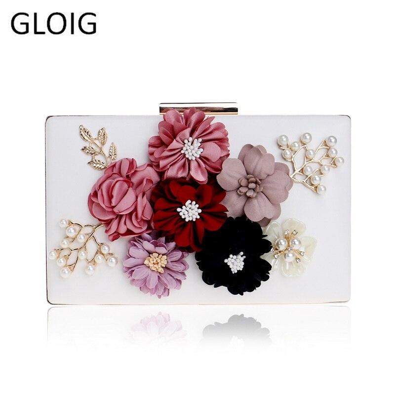 Pu Women Bag Flower Beaded Lady Clutch Bag Metal Gold Evening Bag Wedding Party Chain Shoulder Handbags Phone/key Pocket
